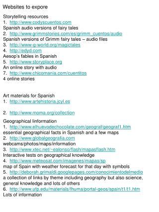 Websites to expore