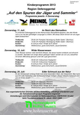 """Kinderprogramm 2013      Region Defereggental      """"Auf den Spuren der Jäger und Sammler"""""""