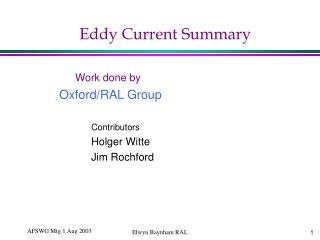 Eddy Current Summary