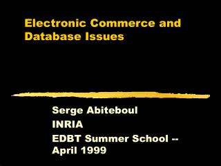 Electronic Commerce and Database Issues