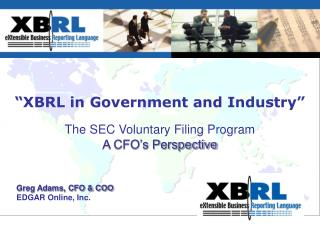 """XBRL in Government and Industry"""