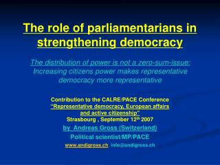 "Contribution to the CALRE/PACE Conference ""Representative democracy, European affairs"