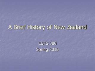 A Brief History of New Zealand