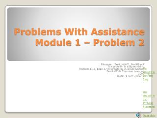 Problems With Assistance Module 1 – Problem 2