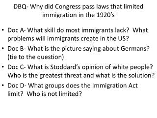 DBQ- Why did Congress pass laws that limited immigration in the 1920's