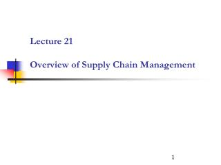 Lecture 21 Overview of Supply Chain Management