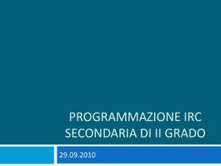 Programmazione IRC Secondaria di II grado