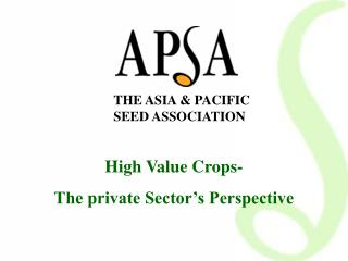 THE ASIA & PACIFIC SEED ASSOCIATION