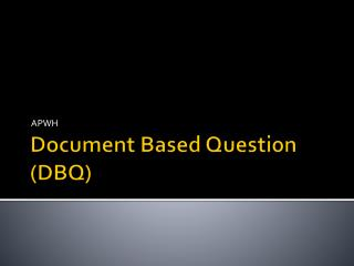 Document Based Question (DBQ)