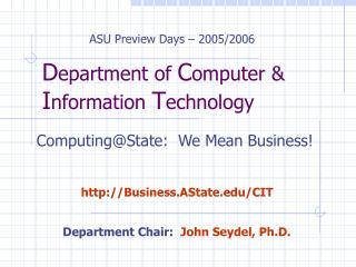 D epartment of  C omputer &  I nformation  T echnology