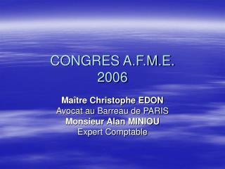 CONGRES A.F.M.E. 2006