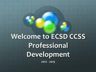 Welcome to ECSD CCSS Professional Development