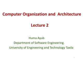 Computer Organization and  Architecture Lecture 2