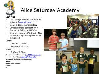 Alice Saturday Academy