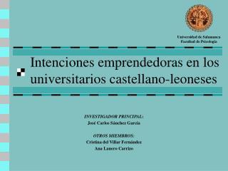 Intenciones emprendedoras en los universitarios castellano-leoneses