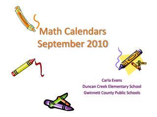 Math Calendars September 2010