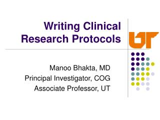 Writing Clinical Research Protocols