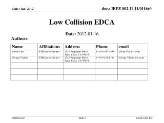 Low Collision EDCA