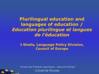 Division des Politiques linguistiques - coet/lang/fr