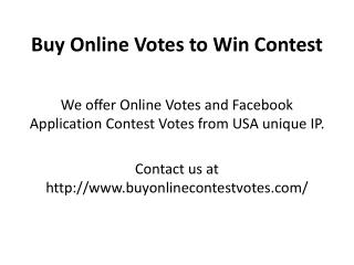 Buy Online Votes to Win Contest