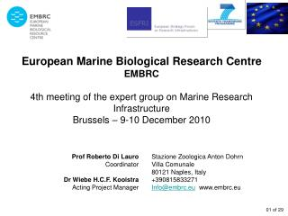 European Marine Biological Research Centre EMBRC