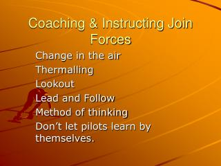 Coaching & Instructing Join Forces