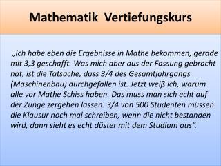 Mathematik  Vertiefungskurs