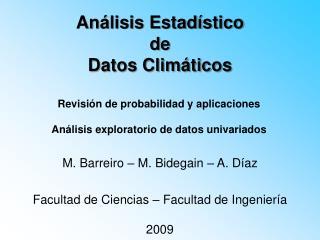 Análisis Estadístico  de  Datos Climáticos