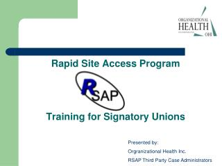 Rapid Site Access Program Training for Signatory Unions