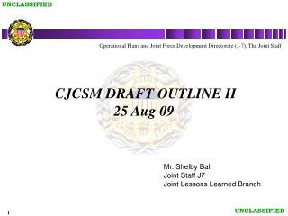 CJCSM DRAFT OUTLINE II 25 Aug 09