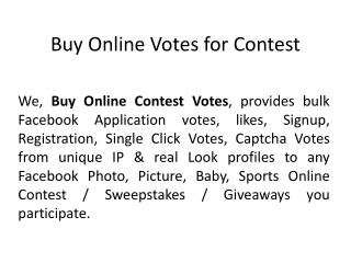Buy Online Votes for Contest