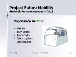 Project Future Mobility Stedelijk Personenvervoer in 2018