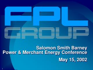 Salomon Smith Barney  Power & Merchant Energy Conference   May 15, 2002