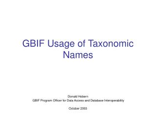 GBIF Usage of Taxonomic Names