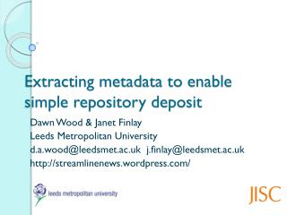 Extracting metadata to enable simple repository deposit