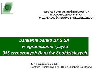 Działania banku BPS SA   w ograniczaniu ryzyka  358 zrzeszonych Banków Spółdzielczych