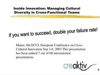 Inside Innovation: Managing Cultural Diversity in Cross-Functional Teams