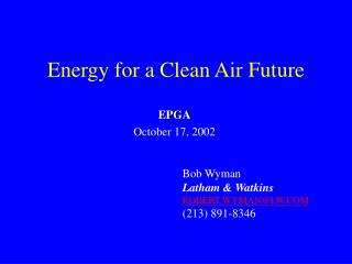 Energy for a Clean Air Future
