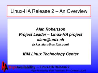 Linux-HA Release 2   An Overview