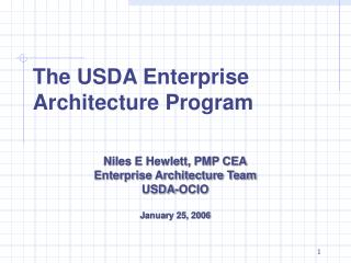 The USDA Enterprise Architecture Program