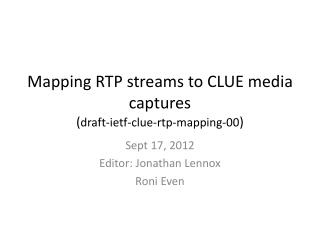 Mapping RTP streams to CLUE media captures ( draft-ietf-clue-rtp-mapping-00 )