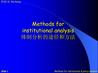 M ethods for institutional analysis 体制分析的途径和方法