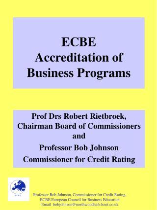 ECBE  Accreditation of Business Programs