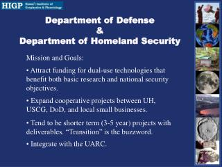 Department of Defense & Department of Homeland Security