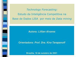 Autora:  Lillian Alvares Orientadora:  Prof. Dra. Kira Tarapanoff Brasília, 18 de outubro de 2001