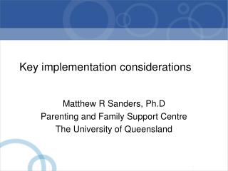 Key implementation considerations