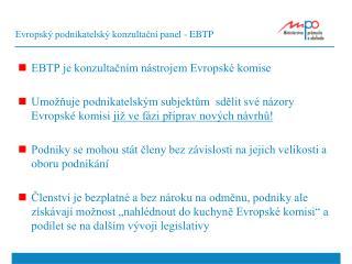 Evropský podnikatelský konzultační panel - EBTP