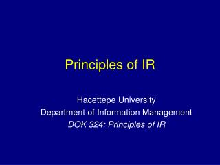 Principles of IR