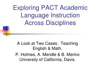 Exploring PACT Academic Language Instruction Across Disciplines