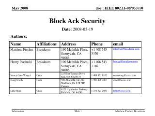 Block Ack Security